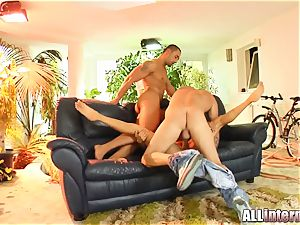 crevices plunged by 2 naughty guys for this ultra-cutie