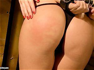 Kathia Nobili ultra-kinky prison guard torturing a super-steamy honey